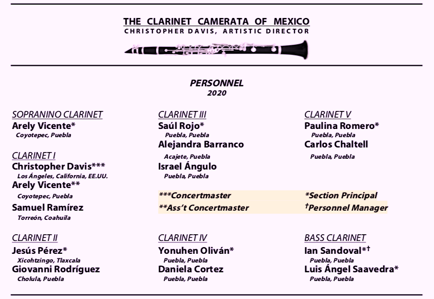 The Clarinet Camerata of Mexico Personnel Roster Fall 2020